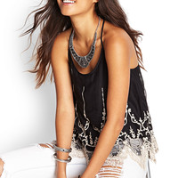 FOREVER 21 Crochet Embroidered T-Back Cami Black/Cream Large