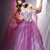 Unique Lilac Ball Gown Sweetheart Embroidery Floor Length Tulle Homecoming Dress-SinoSpecial.com