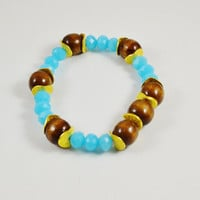 Boho chic bracelet wood bead bracelet Gold stretch bracelet bracelet stack Ocean blue jewelry beaded stretch bracelet Stack bracelet gold
