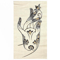 Handmade Hemp Wall Hanging Batik /Tapestry - Buddha Lotus Mudra Hand gesture, Acrylic silkscreen, Symbol of Buddha-Nature,Enlightenment