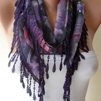 Dark Purple and Pink Scarf with Trim Edge by SwedishShop on Etsy