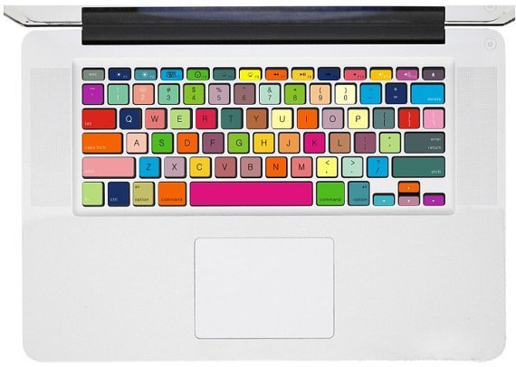 Multicoloured Keyboard Decal   Mac Decal Macbook by AmusingDecal