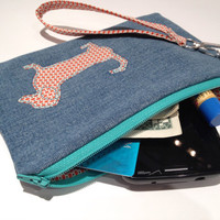 Zippered  Dachshund (Wiener Dog) Denim Wristlet