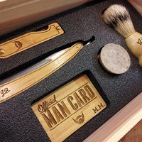 Official Man Card Cigar Box & Straight Razor Shaving Set