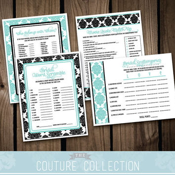 Bridal Shower GAME PACKAGE of 4 games - Breakfast at Tiffany's Inspired Bridal Shower Damask Classic Shower Set - Printable DIY Digital File