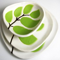 Dipping dish leaves in chartreuse by hopejohnson on Etsy