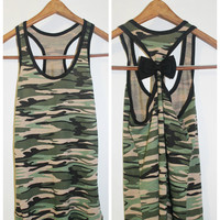 Camo Bow Tank Top, Workout Tank Top, Camo Tank, Bow Tank Top, Workout Bow Tank