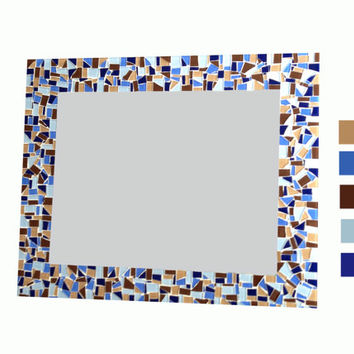 Brown and Blue Large Wall Mirror // Mosaic Mirror // Wall Decor