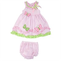 Rare Editions Infant Girl Butterfly Seersucker Dress Set at Von Maur