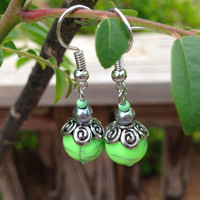 Lime Green and Silver Dangle Earrings