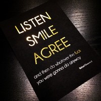 LISTEN SMILE AGREE Gold and Silver Foil 5 x 7 Print on Black | Cargoh