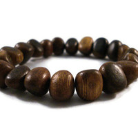 Wood Unisex Bracelet Elastic Natural Material by jewelrybyKAS