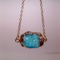 Gold Nugget Turquoise Druzy Necklace - Geode - Rock - Crystal - Raw