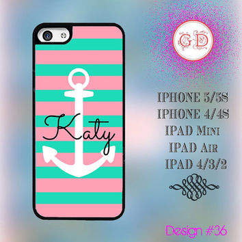 USA Custom Hybrid Cute Anchor Pattern Monogram @ IPhone 5 Case , IPhone 5S Case , IPhone 4 Case ,  IPhone 4S Case , IPad Smart Cover  #36