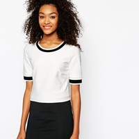 Vila Cropped Boxy Rib Detail T-Shirt with Contrast Edge