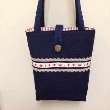 I love Paris handbag, women's handbag, navy blue bag purse, handmade fabric bag, Paris handbag, book tote bag, Bible tote bag, shoulder bag