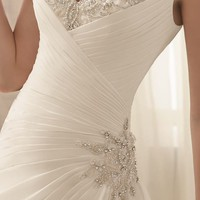 Beaded V Neckline Chiffon Gown by Blu by Mori Lee