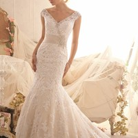 Venise Lace Net Gown by Bridal by Mori Lee