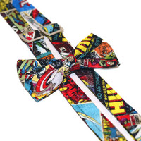 Comics Suspender Bow Tie Set, Captain America, Hulk, Troy, Spiderman, Iron Man