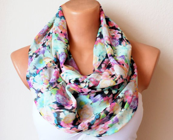 Pastel Rainbow Satin Loop Infinity Scarf Soft by fairstore on Etsy