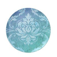 Diamond Damask, COLORFUL RAIN in Blue  Turquoise Dinner Plates from Zazzle.com