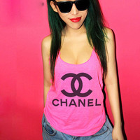 Chanel Women Tank  High Light Pink  Hot Pink by zzzAfternoon