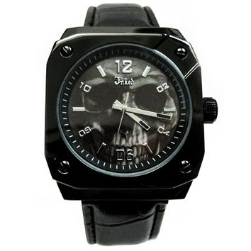 Skull Embossed Leather Watch by Inked (Black)
