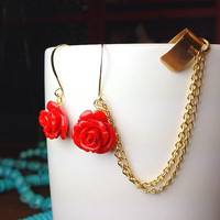 Summer Roses Ear Cuff Earrings with Gold Chain by AtelierYumi
