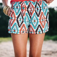 Red White and Blue Printed Shorts - Lotus Boutique
