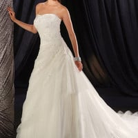 Gorgeous White A-line Scoop Neckline Wedding Dress-SinoSpecial.com