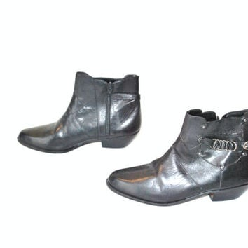size 8 black leather ankle boots / 80s glam rock cowboy riding booties