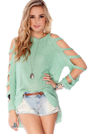 Cool It Sweater in Mint :: tobi