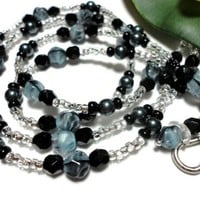Beaded Lanyard Necklace for Id Blue Black Angel Jewelry Handmade