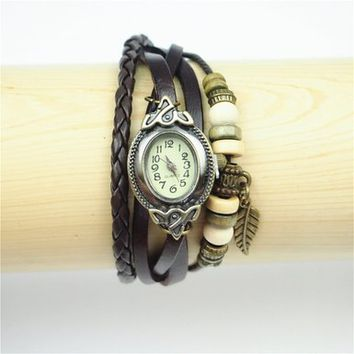 Leather Belt Oval Shape Watch with Leaf Pendant and Wooden Beads 115 WDP 0617