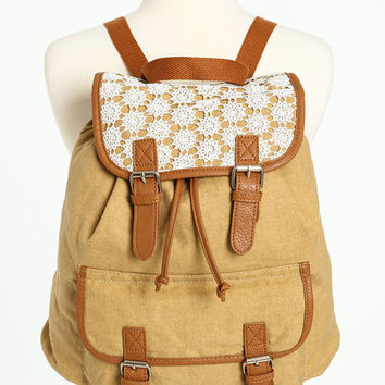 CROCHET LEATHERETTE DAYTRIP BACKPACK