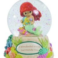 "Precious Moments Disney Ariel Holding Toy Flounder Waterball ""A Wonderful World Surrounds You"""