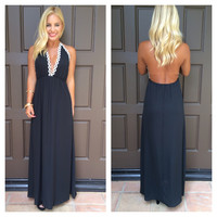Peace Love And Daisies Halter Maxi Dress - BLACK