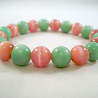 Preppy Bracelet With Green Stone and Pink Glass Beads on Elastic by jewelrybyKAS