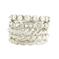 RHINESTONE & TWISTED STACKABLE RINGS - 5 PACK