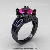 Modern Vintage 14K Black Gold 3.0 Carat Pink and Blue Sapphire Solitaire Ring R102-14KBGBPS