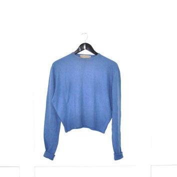 1950s blue cashmere sweater / pull over sweater medium