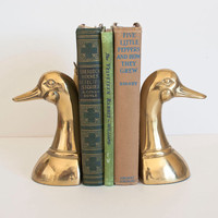 1960's Brass Duck Head Bookends Hollywood Regency Solid Brass Mallard Bookends