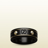 Gucci - icon ring with studs in yellow gold and black corundum 325963I0H118029