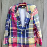Vintage blazer  madras plaid with sunshine by bonmarchecouture