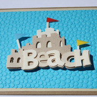 Beach Birthday Card Embossed Ocean Blue Sand by RoyalRegards
