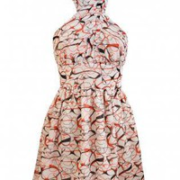 Multi Halter Dress - Red  Black Glasses Print | UsTrendy