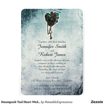 Steampunk Teal Heart Wedding Invitation from Zazzle.com