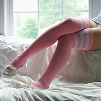 Sporty Knit Thigh-High Socks