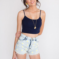 Basic Crop Top - Navy