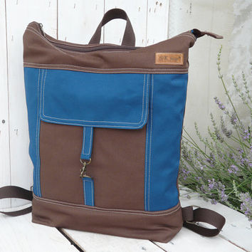 Canvas Backpack tote Unisex Blue Brown Laptop bag Zip top backpack